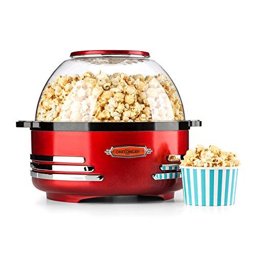 oneConcept Couchpotato • Popcornmaschine • Popcorn-Maker • Popcorn-Bereiter • 50er Jahre Retro-Design • 5,2 Liter Servierschale und Deckel in einem • Dosierlöffel • kurze Aufheizzeit • Halogen-Technik • Heizfläche antihaftbeschichtet • rot