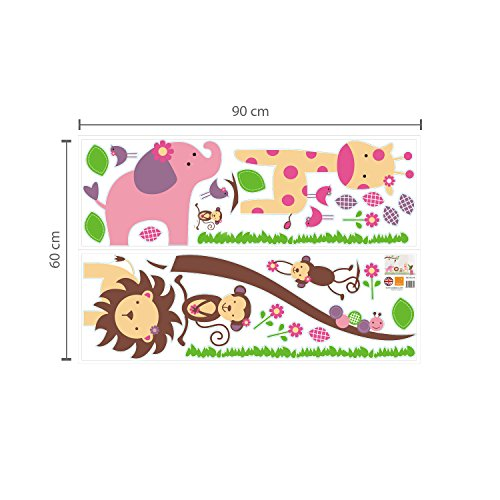 Huge Elephant WS9039 Walplus – Adesivi da parete, motivo elefante/scimmia/alberi - 4