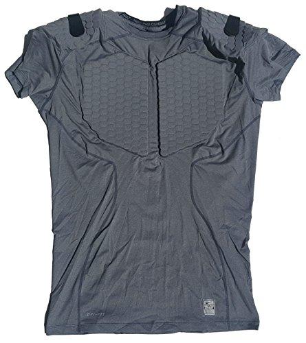 Nike Herren Pro Combat Hyperstrong Gepolsterter Brust/Schulter Fussball Shirt 373112-021(4x große) grau (Nike Pro T-shirt Combat)