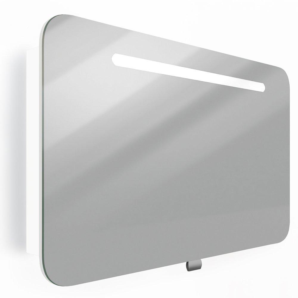 Spiegelschrank LED Weiß Hochglanz Badschrank Badspiegel Spiegel ...