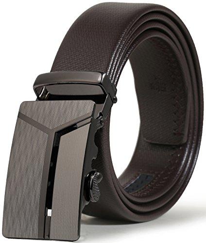 ITIEZY Herren Gürtel Ratsche Automatik Gürtel für Männer 35mm Breit Ledergürtel, T-braun 3, Länge: Bis zu 49,21 Inches (125cm)