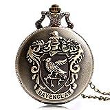 Harry Potter Ravenclaw - Reloj de Bolsillo clásico de Cuarzo con Cadena para Hombre y Mujer