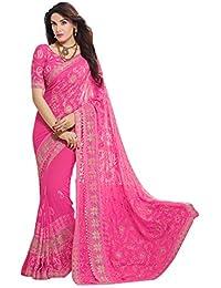 6d9c5e295e7cc Craftsvilla Women s Chiffon Zari Embroidery Saree with Blouse Piece