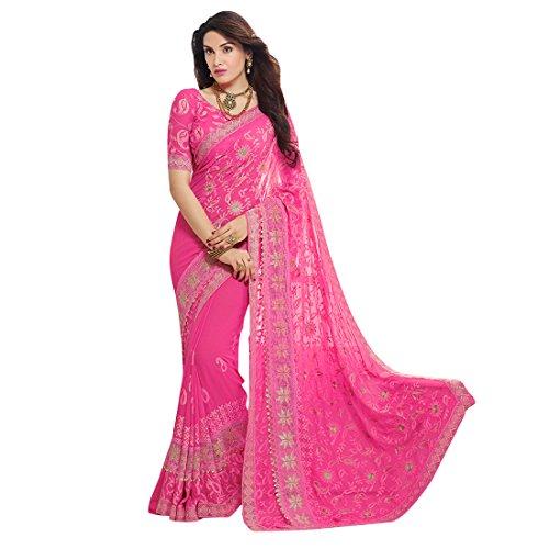 Craftsvilla Women's Chiffon Zari Embroidery Saree with Blouse Piece (Pink)