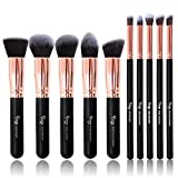 Pinceles de maquillaje, Qivange 10pcs Kabuki Brush Set Cepillo de maquillaje sintético Fundación Sombra de ojos Ceja corrector en polvo Cepillos