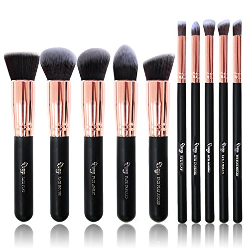 Makeup Brushes, Qivange 10pcs Kabuki Brush Set Synthetic Makeup Brush Foundation Eyeshadow Blush Concealer Powder Brushes