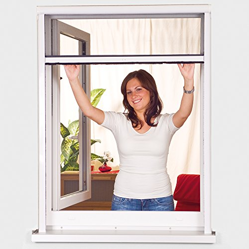 Insektenschutz-Fenster Rollo Smart in Weiß Klemmrollo Fenster PVC Insektenschutzrollo mit Fiberglas Fliegengitter in Anthrazit, Größe:80 x 130 cm