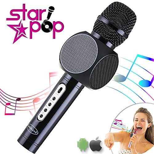 STARPOP Micrófono Inalámbrico Karaoke con Altavoz Portátil Bluetooth | 2 Altavoces Incorporados Perfecto para Karaoke | Compatible iPhone Android iPad PC AUX | Batería Larga Duración | Jet Black