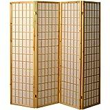 Pantalla de madera y papel de arroz con 4 puertas. Modelo Tatami Color natural