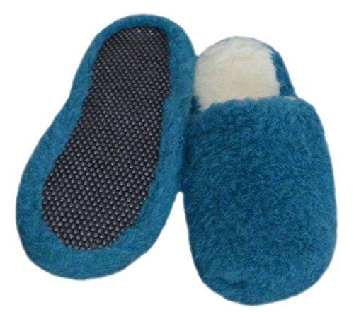 SamWo Chauffe-reins, doux, confortable, look Pantoufles/Unisexe Semelle Anti-Dérapante en laine de mouton, 100% laine de mouton, Azur, Taille: 35–48 Bleu - Bleu azur