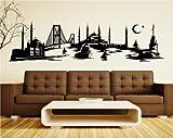 Wandtattoo Istanbul Skyline Türkei, Wandsticker Türkiye Aufkleber Stadt 1M062_1, Farbe:Schwarz glanz;Größe ( Länge):140 cm