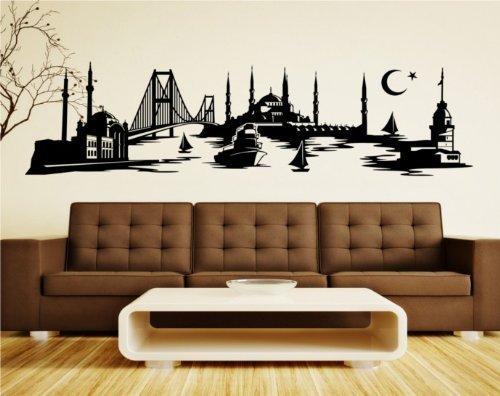 Wandtattoo Istanbul Skyline Türkei, Wandsticker Türkiye Aufkleber Stadt 1M062_1, Farbe:Schwarz glanz;Größe ( Länge):100 cm (Glanz Schwarz Lange)
