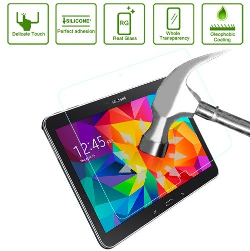 jbTec® Display-Schutz-Glas 9H zu Samsung Galaxy Tab 4 10.1 / SM-T531, LTE / SM-T535, WiFi / SM-T530 - Tempered Glass Screen Protector Verbundglas Glas-Schutzfolie Displayfolie Glasfolie Panzerglas Panzerfolie