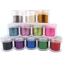 12?X Fine acrílico polvo de purpurina para Nail Art Tips Design, decoración purpurina polvo polvo (10g Jar)