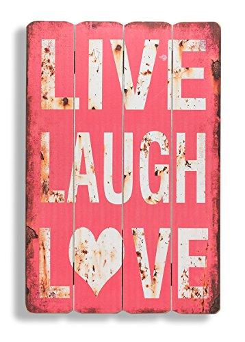 levandeo Wandbild Holzschild in rot Live Laugh Love 60x40cm Leben Lachen Lieben - Holzbild Schild Wandschild Bild Holz Dekoschild Wanddeko Wandobjekt Shabby Chic