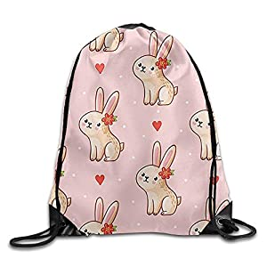 ZHIZIQIU Beautiful Navy Seashore Brige 100% Polyester Drawstring Backpack Pattern Backpack Buggy Bag Cute Pink Bunny