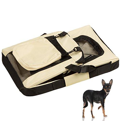 "TecTake Faltbare Hundetransportbox Transportbox beige 50x35x35cm ""S"" - 6"
