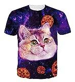 Goodstoworld 3D Katze Pizza Print T Shirt Herren Damen Sommer Lustige Beiläufige Kurzarm Aufdruck T-Shirts Tee Top XL
