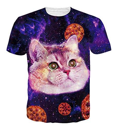 Goodstoworld T Shirt 3D Druck Herren Damen Katze Pizza Print Sommer Lustige Beiläufige Kurzarm Partner T-Shirts T-Stücke S (T-shirts Katze)