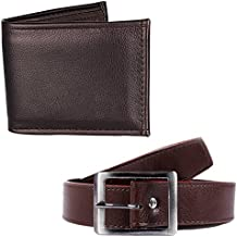 HOB LONDONFASHION WITH DEVICE Men's Faux Leather Brown Wallet and Belt Combo