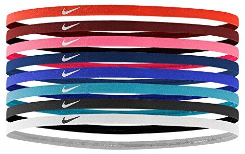 Nike Skinny Hairbands 8 Pack Haarbänder, Light Crimson/Dark Cayenne/Bright Melon, One size