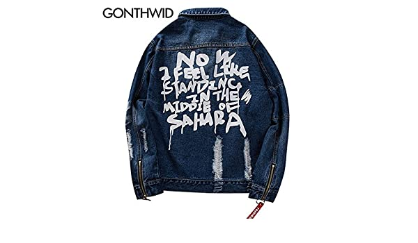 dcc5ef1fb94 World2home GONTHWID Distressed Ripped Denim Jacket Mens Hip Hop Printed  Denim Jackets Male Fashion Ribbon Jeans Coats Streetwear Black Blue:  Amazon.in: ...