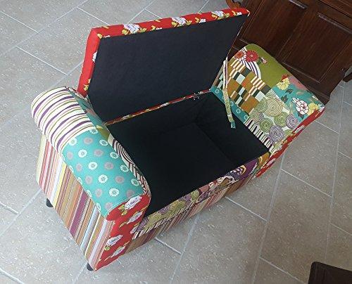 Panca Contenitore Tessuto : Panca contenitore cassapanca in tessuto fantasia patchwork
