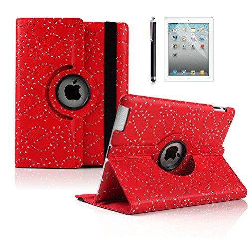 Diamant Bling PU Leder 360Drehbare Hülle Für iPad 23& iPad 4Retina Ständer Fall Rot Bling (Nicht kompatibel für iPad Air 12013/Air 22014/2017iPad veröffentlicht) (Drehbare Ipad 2 3 4 Fall)