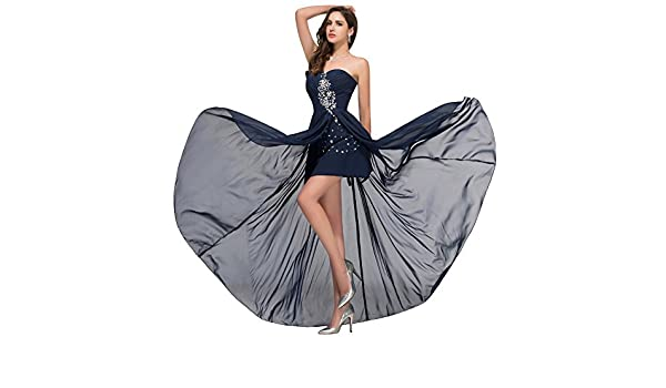Fast Deliver Prom Dresses 2016 Sexy High Slit Beaded Sequin Chiffon Ombre Dress Cheap Long Navy Blue Prom Dress Under 50 3443 Size : 16: Amazon.co.uk: ...