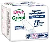Love & Green Serviettes Hypoallergéniques Nuit 0% x 10