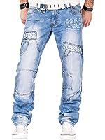 Kosmo Lupo Herren Jeans Denim Hose Japan Style Multi-Pocket Blau