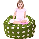 Stuffed Animal Storage Bean Bag Chair, Premium Canvas and Extra Long Zipper Green and White Polka Dot-38""