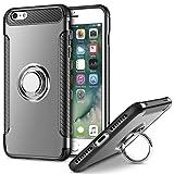 Mosoris iPhone 6S Plus Hülle, iPhone 6 Plus Handyhülle mit Ring Kickstand, Stoßfest Schutzhülle Case mit 360 Grad Drehbarer Handyhalterung Geeignet für Auto Magnet Ring für iPhone 6S Plus, Grau