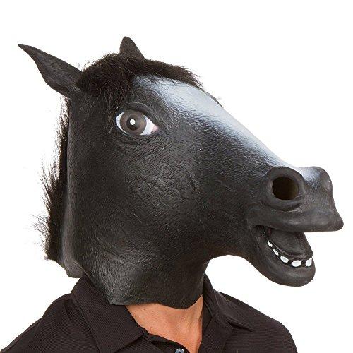 Supmaker Pferdemaske für Halloween Maske latex Tiermaske Pferdekopf Pferd Kostüm (schwarz)