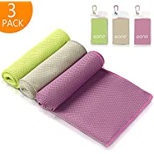 Eono by Amazon - Cooling Towel 3 Pcs 100 x 30 cm Microfiber Towel for Instant Cooling Relief, Cool Towel for Sports, Yoga, Beach, Golf Towel, Gym Towel, Cooling Towels for Neck