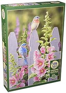 Cobblehill 80009 - Puzzle (1000 Piezas), diseño de pájaros Azules y hollyhocks