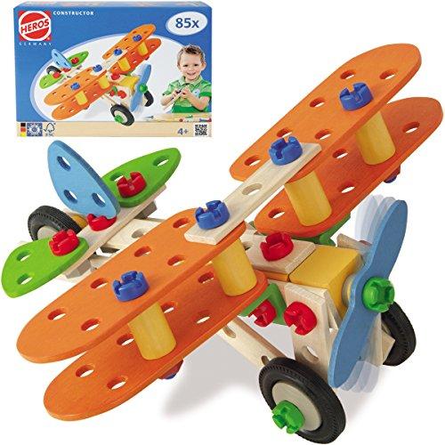 Constructor Doppeldecker, Hubschrauber, Dino und Motorrad: Fahrzeug Bausatz 85 Teile Holz Bau Set Konstruktions Spielzeug