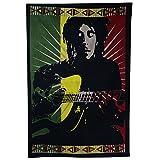 Décoration murale batik à suspendre, Bob Marley jouant de la guitare, rasta coloré 103cm x 69cm