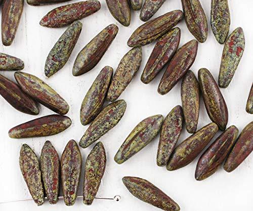 20pcs Picasso Braun, Rau, Rustikal Geätzt, Mattiert, Tschechische Glas Dolch Perlen, Flaches Blatt, 5mm x 16mm -