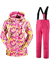 Mädchen Kinder Skianzug Skijacke Skihose Regenlatzhose Verdickung Lang Jacket Wintermantel Mantel