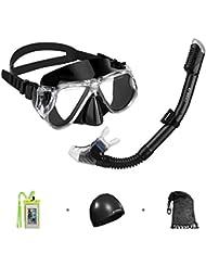 Enkeeo - Gafas de Buceo, Máscara de Buceo de Vidrio Templado y Snorkel Seco para Vista Panorámica (Gorro de Natación, Caso de Teléfono y Bolsa) (Negro)