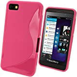 igadgitz S Line Rosa Case TPU Gel Funda Cover Carcasa para BlackBerry Z10 Smartphone + Protector de pantalla