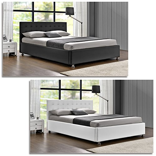 DI-LIFESTYLE Cubas Doppelbett Schwarz Oder Weiß Polsterbett Bett Lattenrost Kunstleder