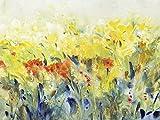 Artland Qualitätsbilder I Glasbilder Deko Glas Bilder 80 x 60 cm Botanik Blumenwiese Spachteltechnik Gelb C2FO Schwingende Blumen II