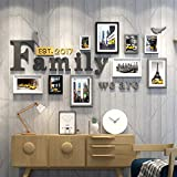 #10: WollWoll Family Word European Living Room Bedroom City Life Yellow Taxi Wood Photo Frame Set (172 cm x 2 cm x 96 cm)