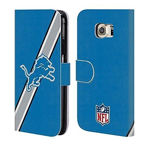 Official NFL Stripes Detroit Lions Logo Leather Book Wallet Case