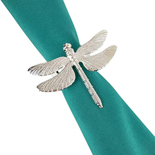 CJMING Serviettenring, Dragonfly Alloy Serviettenringe, Perlen Muster Serviettenhalter Dekor für Hochzeitsfeier, Table Dinner Dekoration