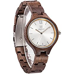 Uwood Natural Walnut Wood Watch Lady Women Girl Unique Dress Wood Watch