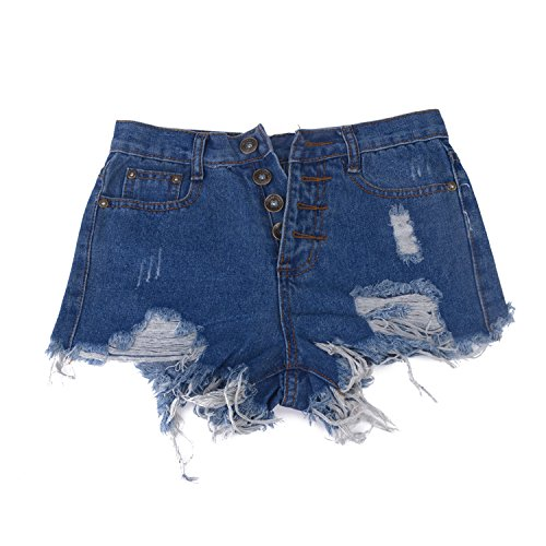 BININBOX® Damen Jeans Shorts Hot Pants Mädchen Destroyed-Look Used-Look kurz Mini Sommerhose Blau