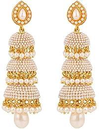 Crunchy Fashion Fancy Party Wear Gold PlatedTraditional Jhumki/Jhumka Earrings for Women